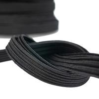 Elastisch koord 22mm plat zwart op rol