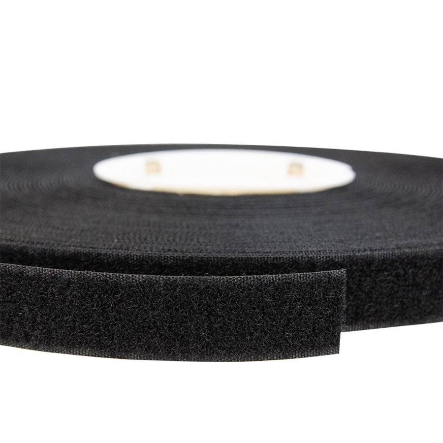 Klittenband 20mm zelfklevend hotmelt lus zachte kant zwart