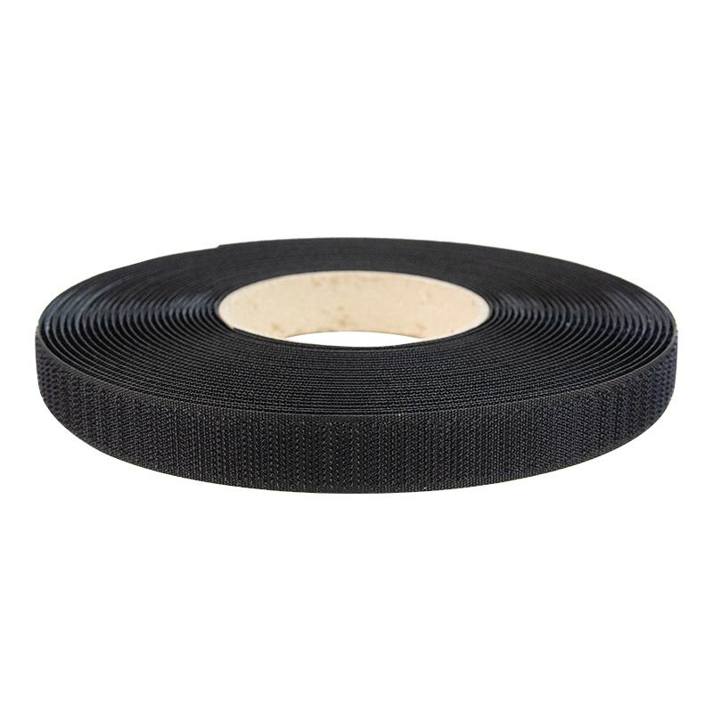25 meter Klittenband 20mm zelfklevend acryl haak harde kant zwart