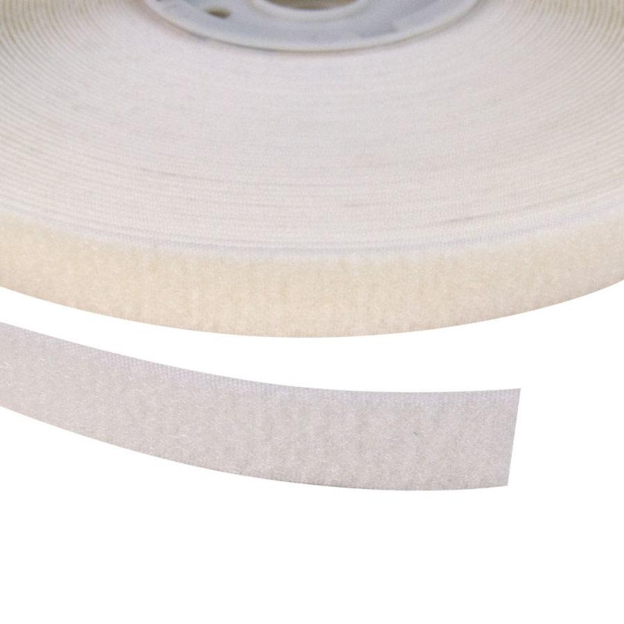 Klittenband 20mm zelfklevend acryl lus zachte kant wit