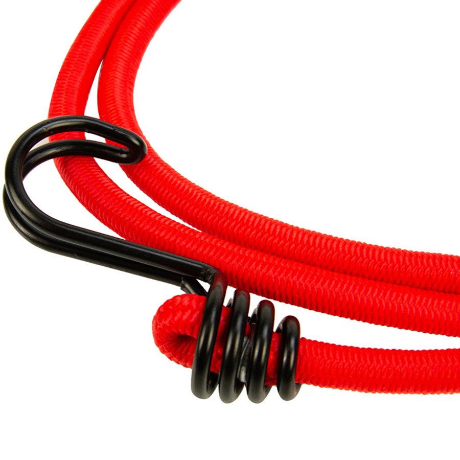 Snelbinder 150cm omgekeerde dubbele haak rood
