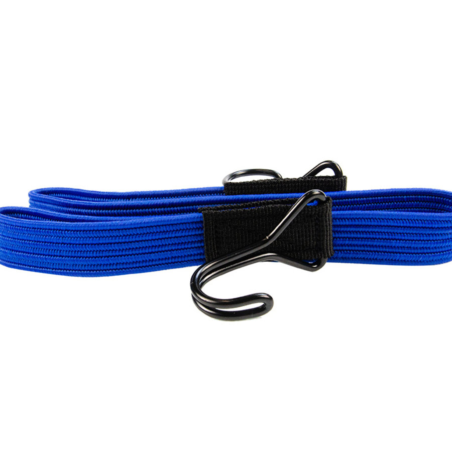 Platte spanband 80cm blauw PP dubbele haak