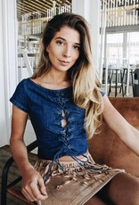 Rachel Moore Denim lace up top