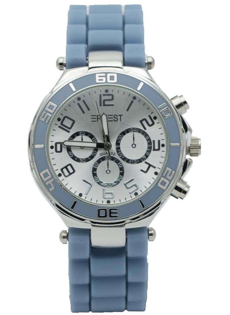 Ernest Horloge rubber zilver babyblauw