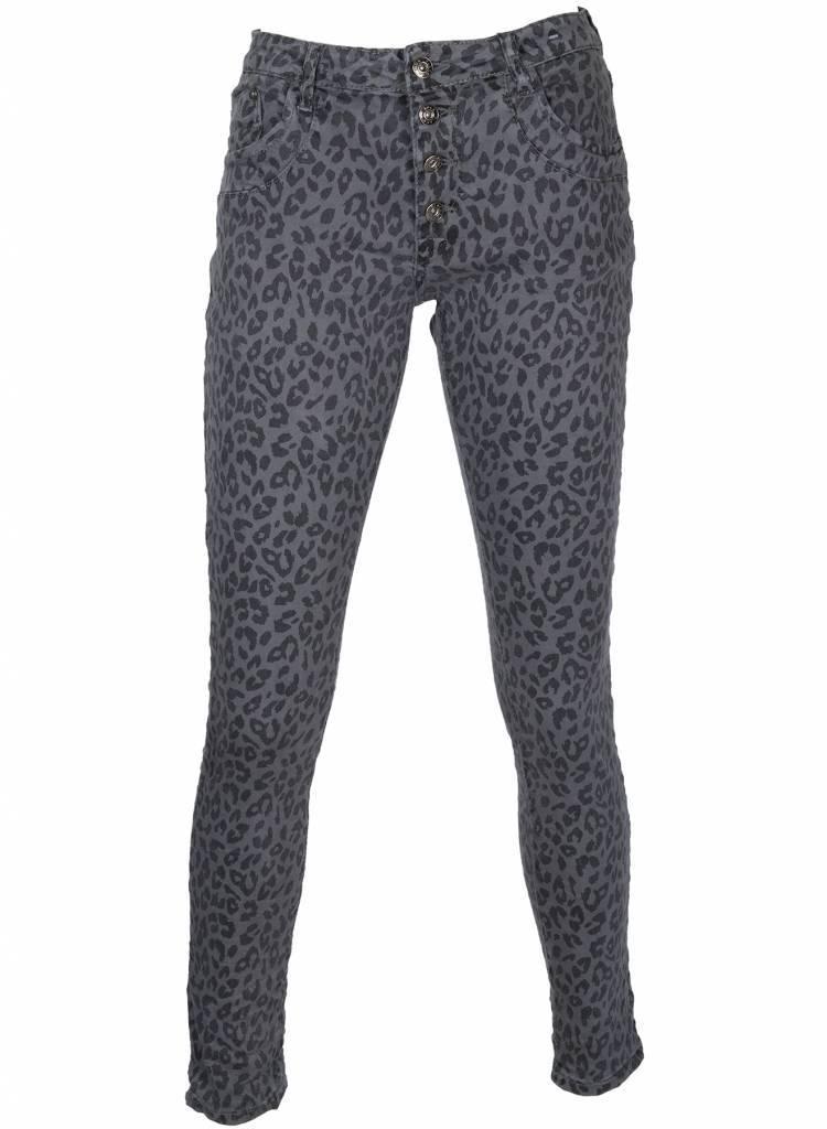 Nieuw Broek panter groen/zwart. Katoenen broek in panterprint QG-48