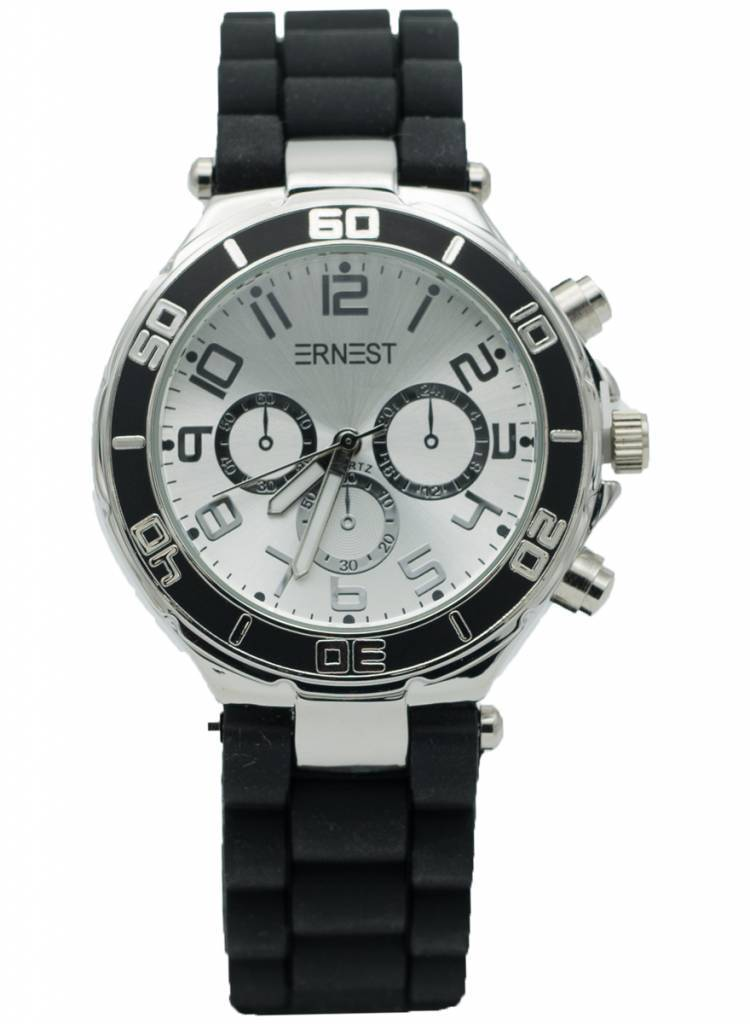 Ernest Horloge rubber zilver zwart/wit