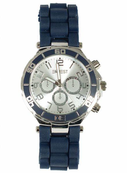 Ernest Horloge rubber zilver donkerblauw