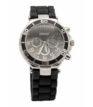Ernest Horloge rubber zilver zwart