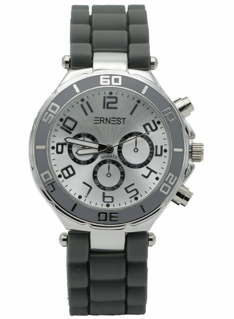 Ernest Horloge rubber zilver grijs