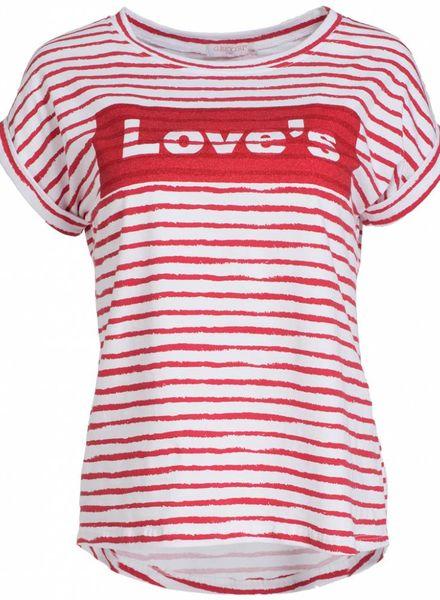 Gemma Ricceri Shirt Love's streep rood/ wit