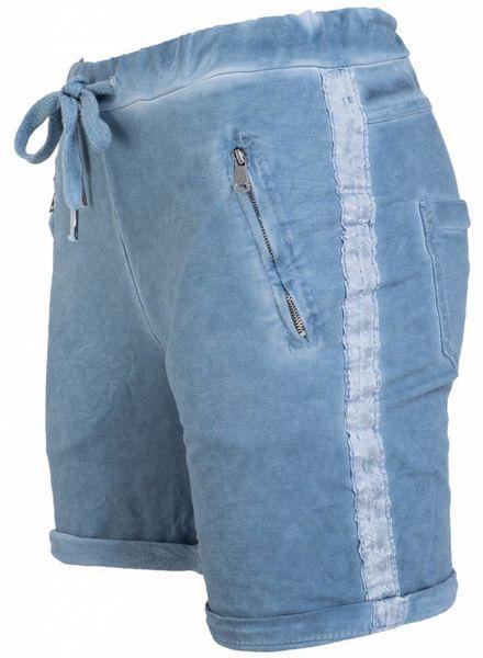 Gemma Ricceri Korte broek joggingstof jeansblauw
