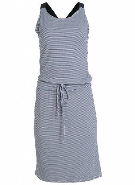 Gemma Ricceri Jurk kruisband streep wit/ blauw