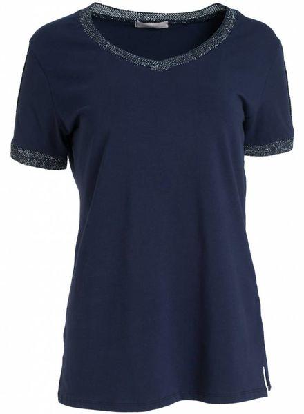 Gemma Ricceri Shirt lurex bies donkerblauw