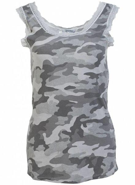 Gemma Ricceri Top kant camouflage donkergrijs