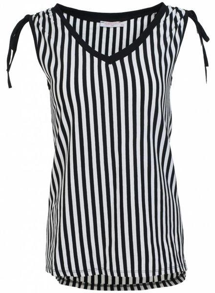 Gemma Ricceri Shirt streep kelly zwart/wit
