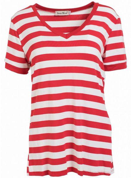 Shirt streep v- hals rood/wit