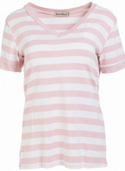 Shirt streep v- hals roze