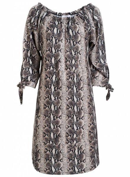 Gemma Ricceri jurk Lou slangenprint beige