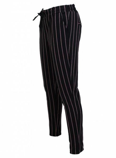 Rebelz Collection Broek Logan streep zwart/rood