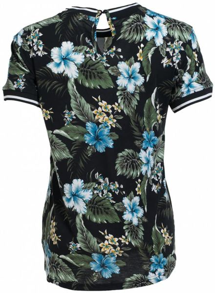 Rebelz Collection Shirt bloem Anita zwart/groen