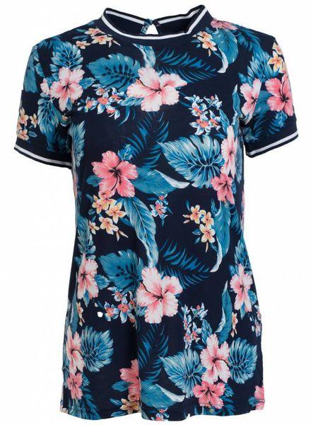 Rebelz Collection Shirt bloem Anita blauw/roze