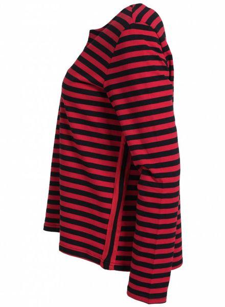 Rebelz Collection Trui Nikkie streep zwart/rood