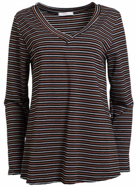 Gemma Ricceri Shirt streep Liv brique/zwart