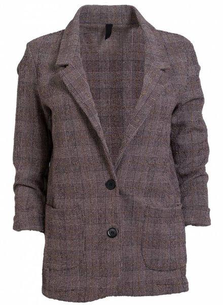 Gemma Ricceri Blazer tweed fijne ruit bordeaux