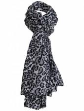 Sjaal panter Dora gijs/zwart