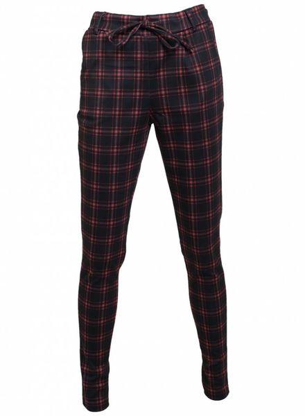 Rebelz Collection Pantalon ruit Nancy zwart/rood