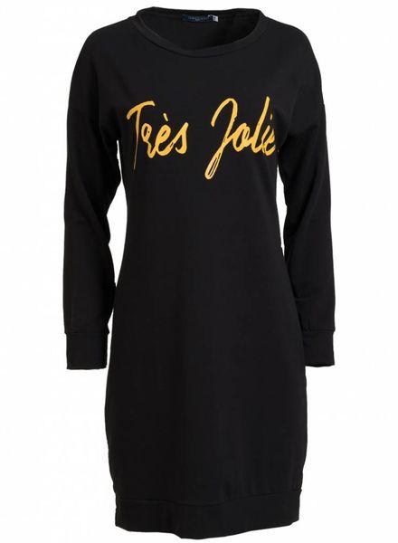 Gemma Ricceri Sweaterdress Tres Jolie zwart/okergeel