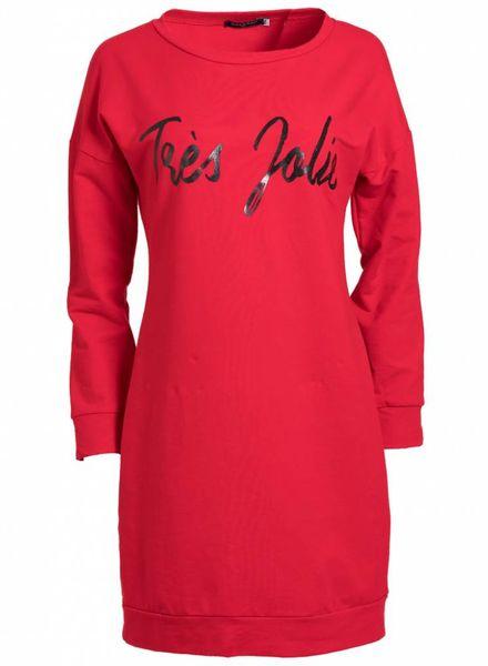Gemma Ricceri Sweaterdress Tres Jolie rood/zwart