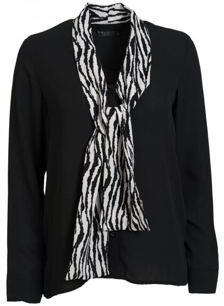 Rebelz Collection Blouse zebra strik zwart/wit