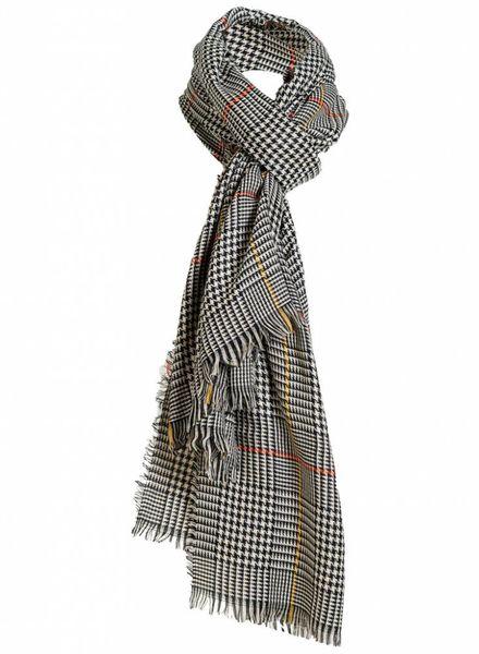 Sjaal ruit Nog zwart/okergeel