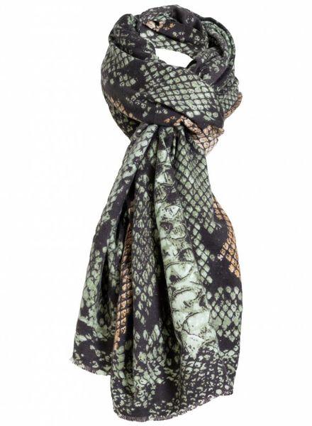 Sjaal slangenprint groen/bruin