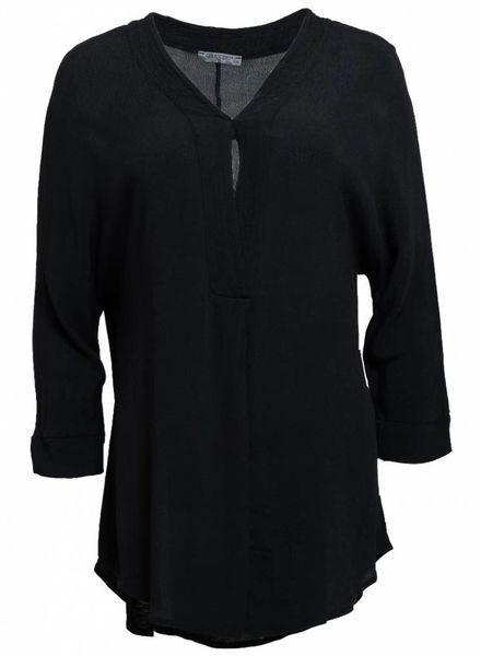 Gemma Ricceri Shirt basic v-hals Kim zwart