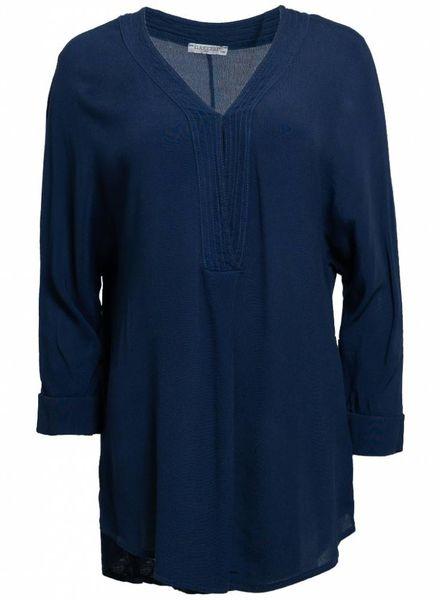 Gemma Ricceri Shirt basic v-hals Kim blauw