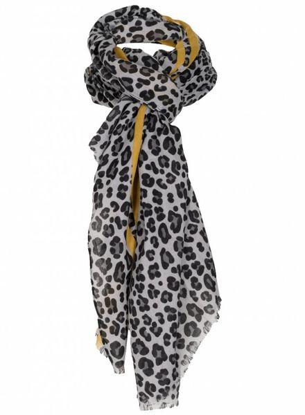 Sjaal Dex panter zwart/okergeel