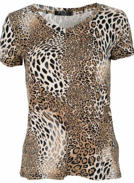 Rebelz Collection Shirt dierenprint beige/zwart