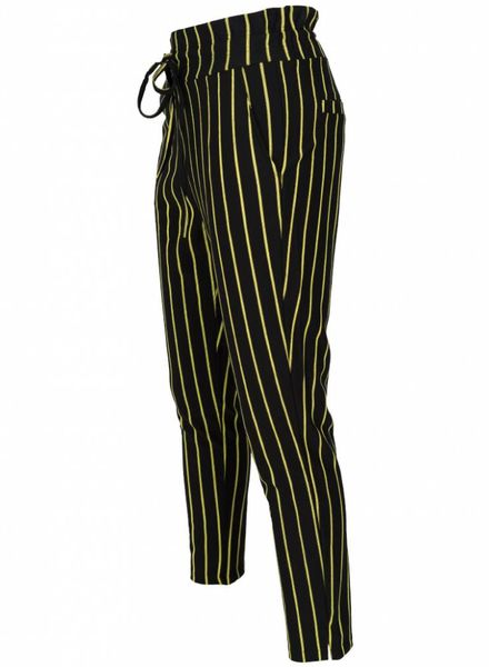 Rebelz Collection Pantalon krijtstreep zwart/geel