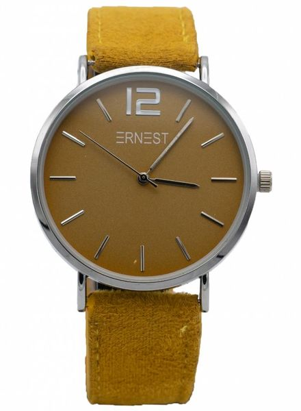 Horloge Suedine Okergeel