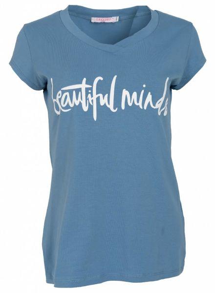 Gemma Ricceri Shirt beautiful minds jeansblauw