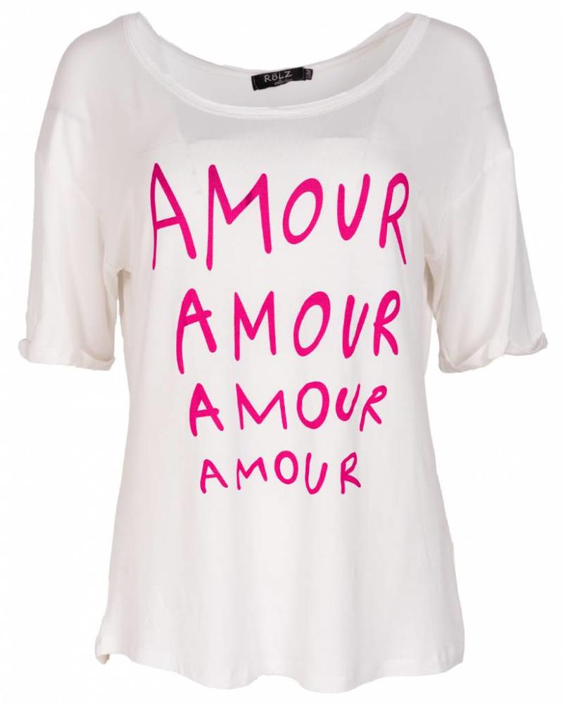 Rebelz Collection Shirt Amour wit/roze