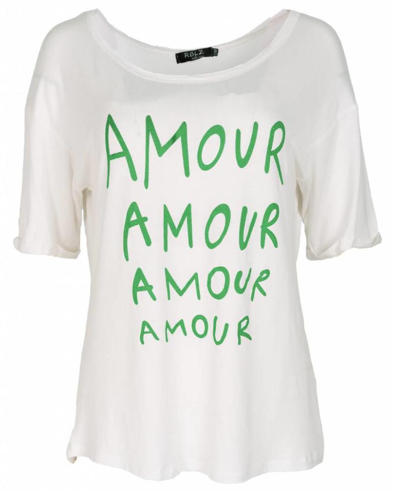 Rebelz Collection Shirt Amour wit/guccigroen