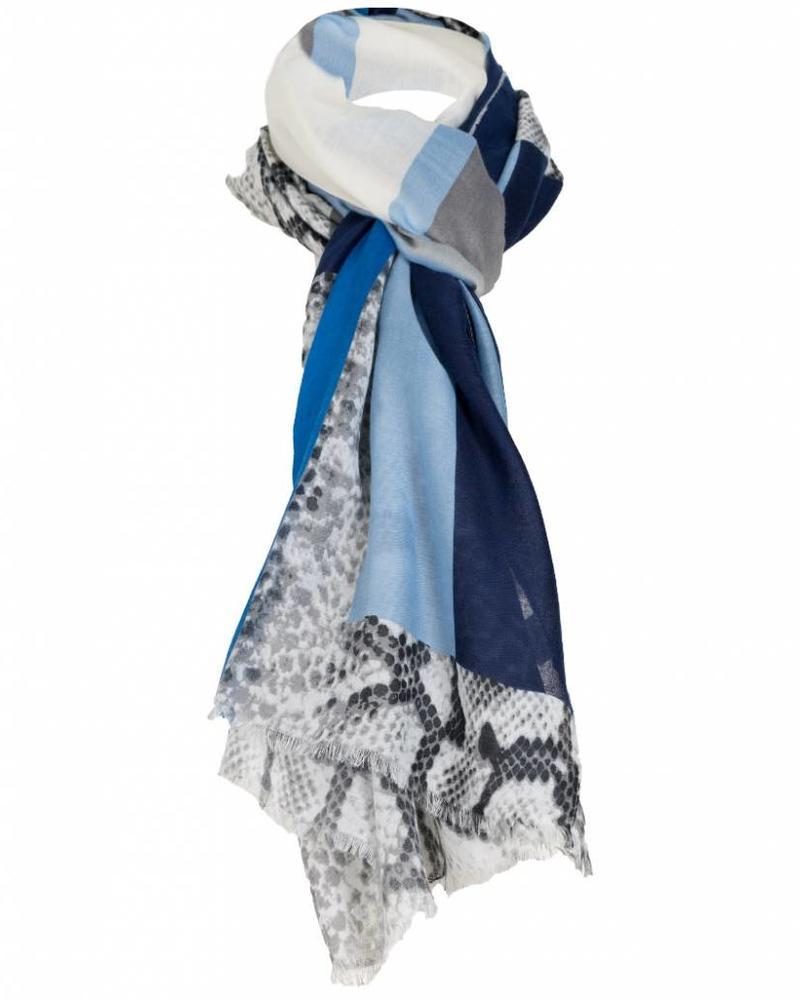 Sjaal Kyara snake print kobalt blauw