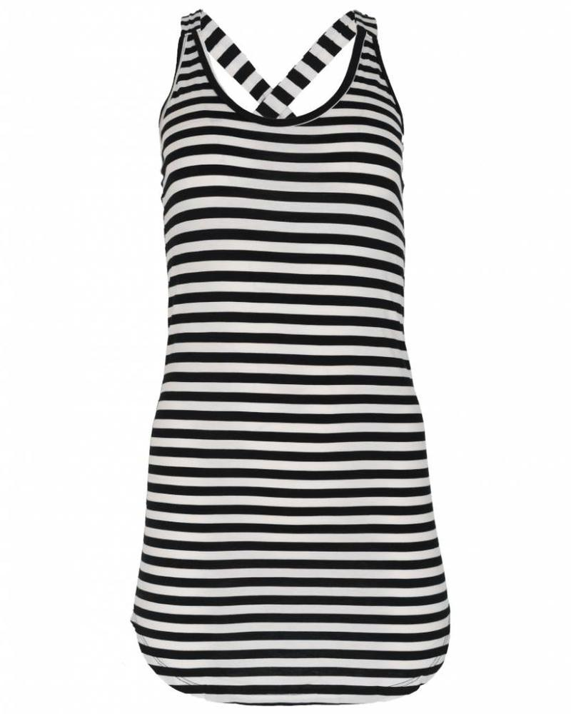 Rebelz Collection Top kruisband lang streep zwart/wit