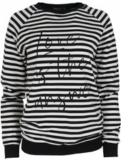 Rebelz Collection Sweater love is streep zwart/wit