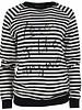 Rebelz Collection Sweater love is streep zwart/wit