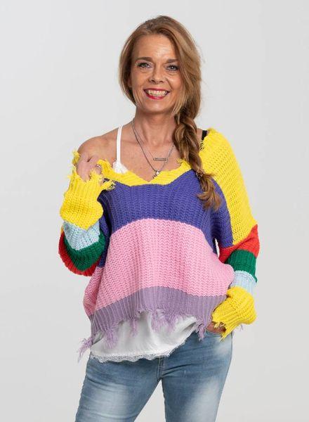 Rebelz Collection Trui Ibiza multicolour paars