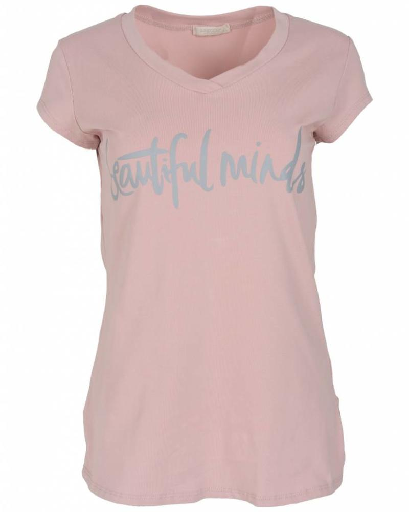 Gemma Ricceri Shirt beautiful minds roze/grijs